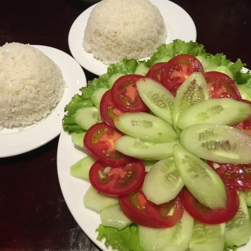 Rice with Cucumber and Tomato Salad